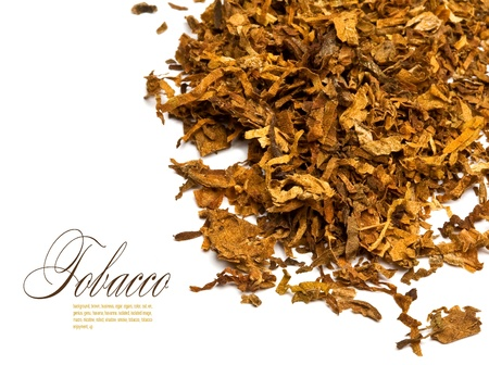 pile of leaves: Cut and dried different sorts (kinds) tobacco leaves. Stock Photo
