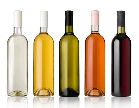 aligote: Set of white, rose, and red wine bottles.isolated on white background Stock Photo
