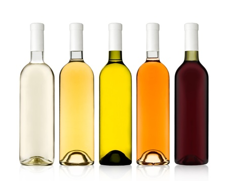 Set of 5 bottles of wine shot on clearance photo