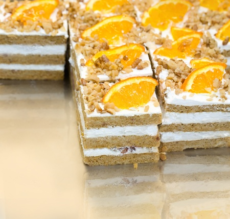 cake with nuts and orange