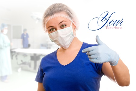 surgical scrubs: health worker invited to be examined Stock Photo