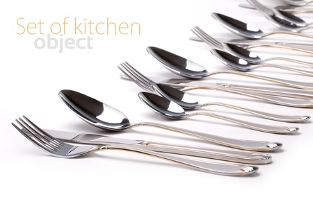 silver cutlery: Silver fork and spoon, knife on white Stock Photo
