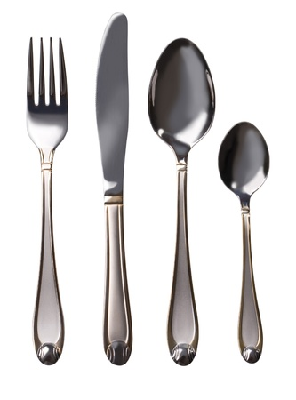 silver cutlery: Cutlery set with Fork, Knife and Spoon isolated