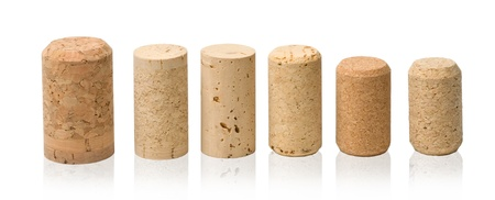vintage bottle: wine corks set  isolated on white Stock Photo