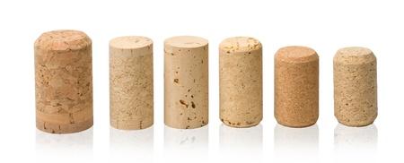wine cork: wine corks set  isolated on white Stock Photo