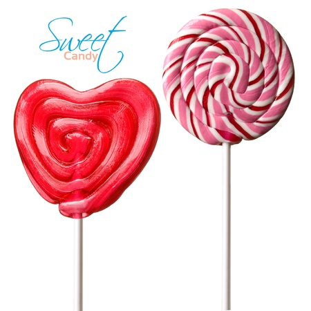 two Colourful lollipop isolated on the white background Stock Photo - 13320577