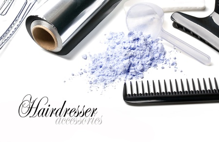 hairdressing scissors: Barber Accessories for painting hair on a white background Stock Photo