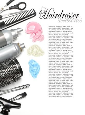 tarak: hairdresser scissors, combs and brush on white background