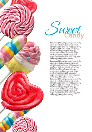 candy background: Colourful lollipop isolated on the white background
