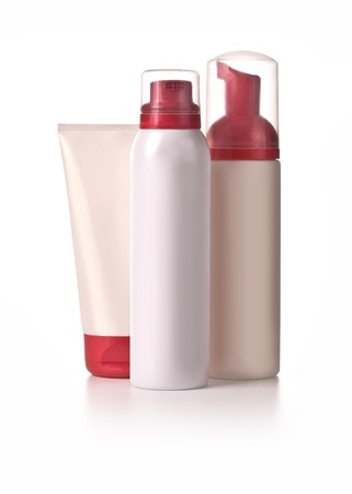 different cosmetic bottle - group isolated photo
