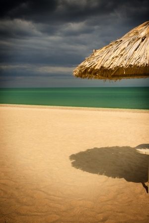 thatched: The straw parasol on south beach Stock Photo