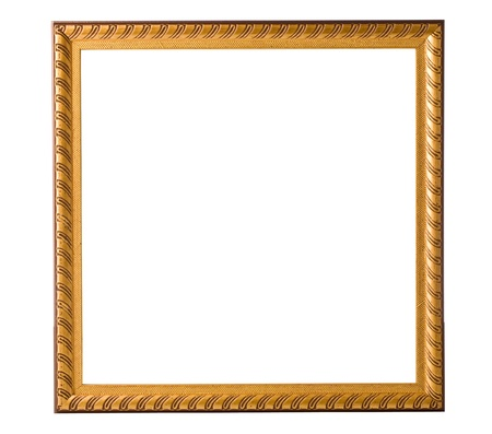Gold frame isolated on a white background Stock Photo