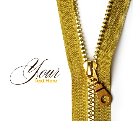unzip: Unbuttoned gold zipper isolated on white, hi resolution Stock Photo