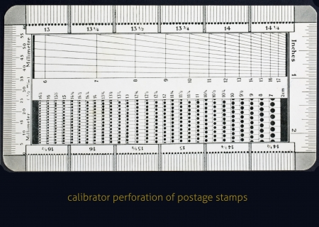perforation: calibrator perforation of postage stamps