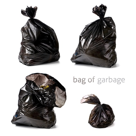 garbage dump: Garbage bags isolated on a white background Stock Photo