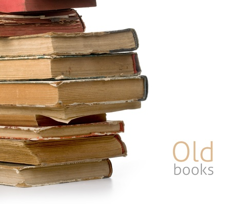spines: old books on white background Stock Photo
