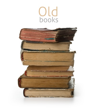 stack of old books on white background Stock Photo - 14658714