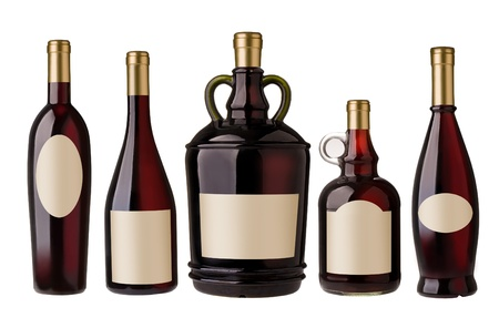 five wine bottles with blank label photo