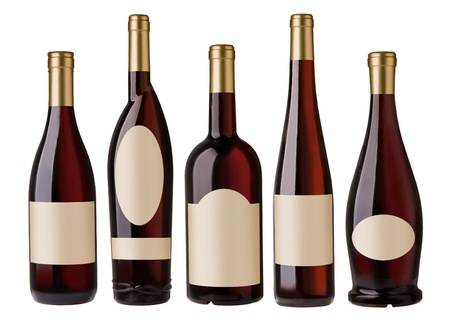 different shape red wine bottles with blank labels.