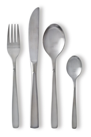 knife and fork: Cutlery set with Fork, Knife and Spoon on white background