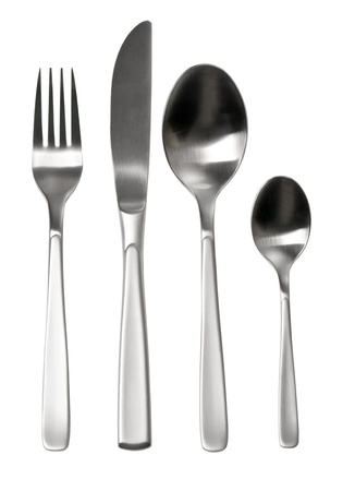 Cutlery set with Fork, Knife and Spoon isolated photo