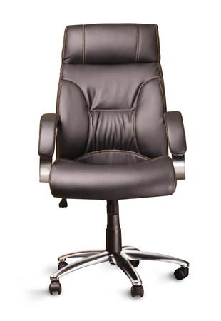 Stuhl: der schwarze B�rostuhl auf wei�em Hintergrund Lizenzfreie Bilder