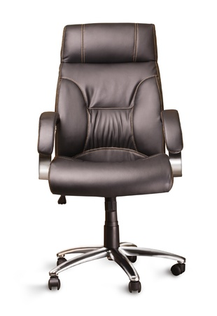 the black office chair on white background photo