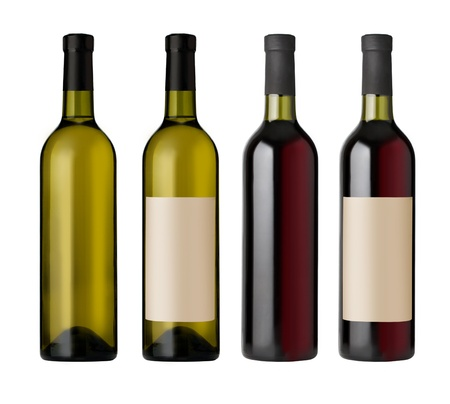 two  red and white wine bottles with blank labels, render.