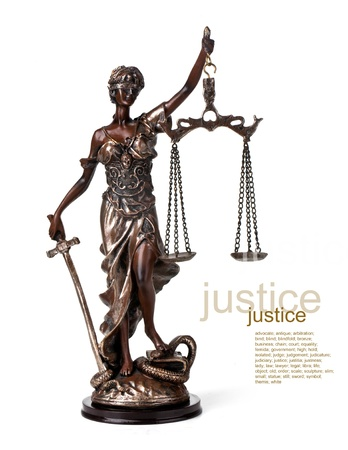 law symbol: A picture of a Themis statue standing over whitek background