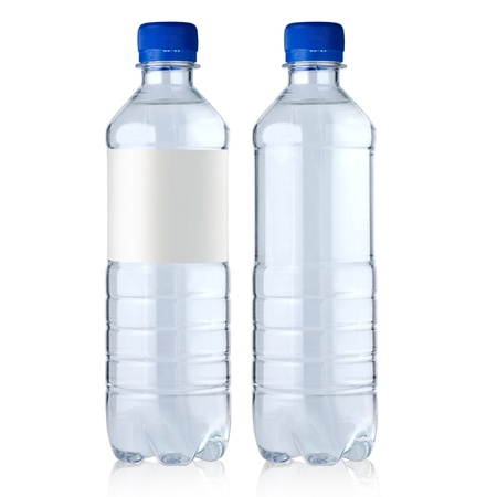 two  bottles with water it is isolated on a white background Stock Photo