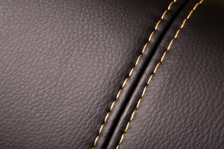 leather stitch: Seam on leather product (close up) Stock Photo