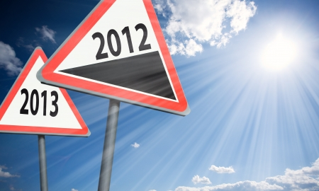 approximation of the new year is shown by road signs