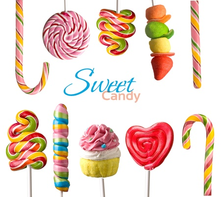 junk food: Colorful  lollipops isolated on white background
