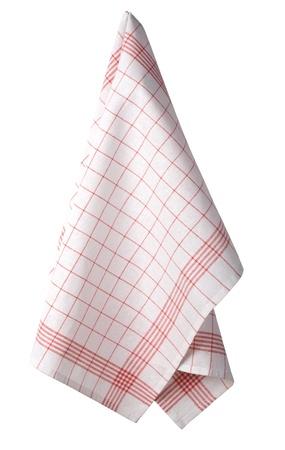 dishcloth: Kitchen towel hanging isolated on white background