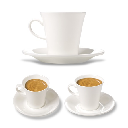 white cup of coffee in the three planes on a white background Stock Photo
