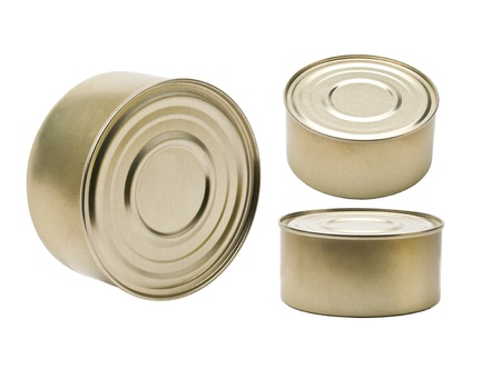 canned goods: tin in three planes on a white background