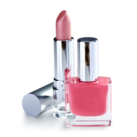 nail polish and lipstick  on white background Stock Photo - 18721945