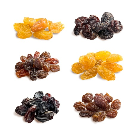 raisins: different varieties of raisins on a white background