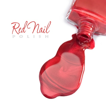 fingers on top: Red nail polish on a white background with space for text