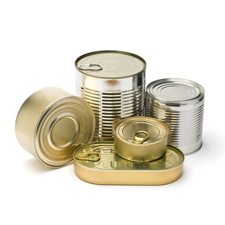 can food: metal cans on a white background  paths stored