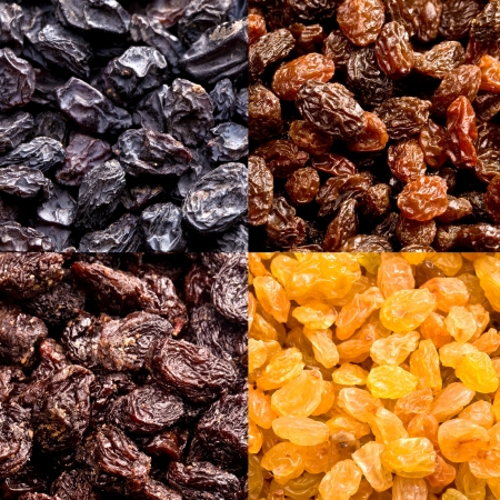 raisins: different varieties of raisins close up background