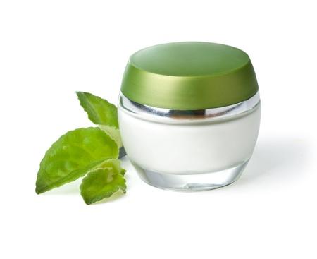 moisturiser: white jar of cream isolated on white background  Stock Photo