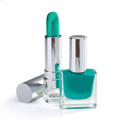 lip stick: nail polish and lipstick emerald color isolated