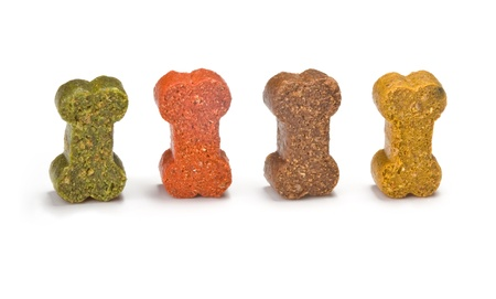 dog biscuit: dog food is a close-up on a white background