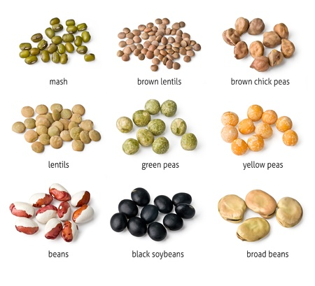 roman beans: mix of bean and pea on white background