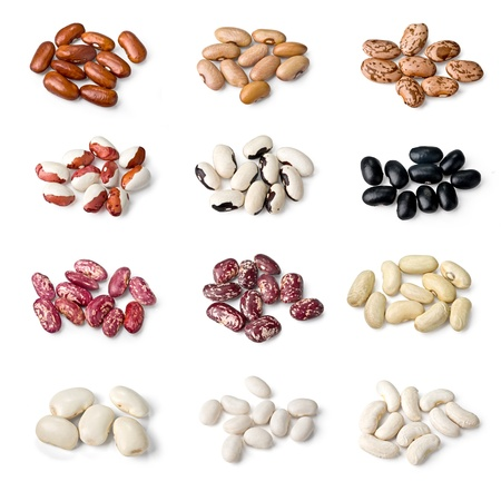 pinto beans: collection of different beans isolated on white background