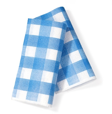 white napkin in the isolation of the blue square on a white background photo