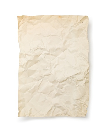 crumpled sheet: Old paper texture on white background