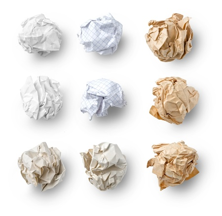 Set of  Crumpled Paper- School Squared, Office and Brown Craft  isolated on white background Stock Photo