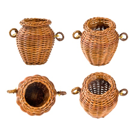 splice: wicker basket in four projections on a white background